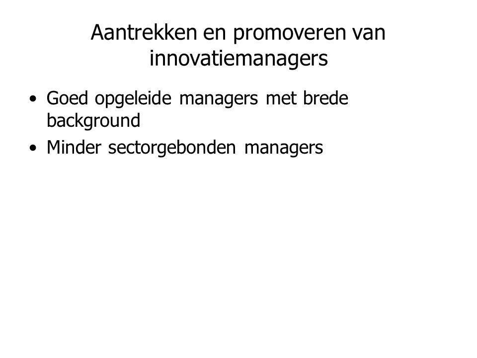 Aantrekken en promoveren van innovatiemanagers •Goed opgeleide managers met brede background •Minder sectorgebonden managers
