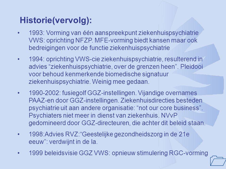 1 Historie(vervolg): •1993: Vorming van één aanspreekpunt ziekenhuispsychiatrie VWS: oprichting NFZP. MFE-vorming biedt kansen maar ook bedreigingen v