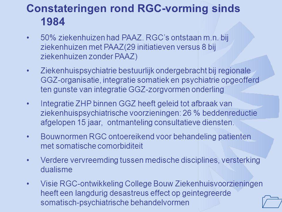 1 Constateringen rond RGC-vorming sinds 1984 •50% ziekenhuizen had PAAZ. RGC's ontstaan m.n. bij ziekenhuizen met PAAZ(29 initiatieven versus 8 bij zi