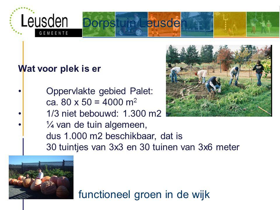 Dorpstuin Leusden functioneel groen in de wijk Wat voor plek is er • Oppervlakte gebied Palet: ca.