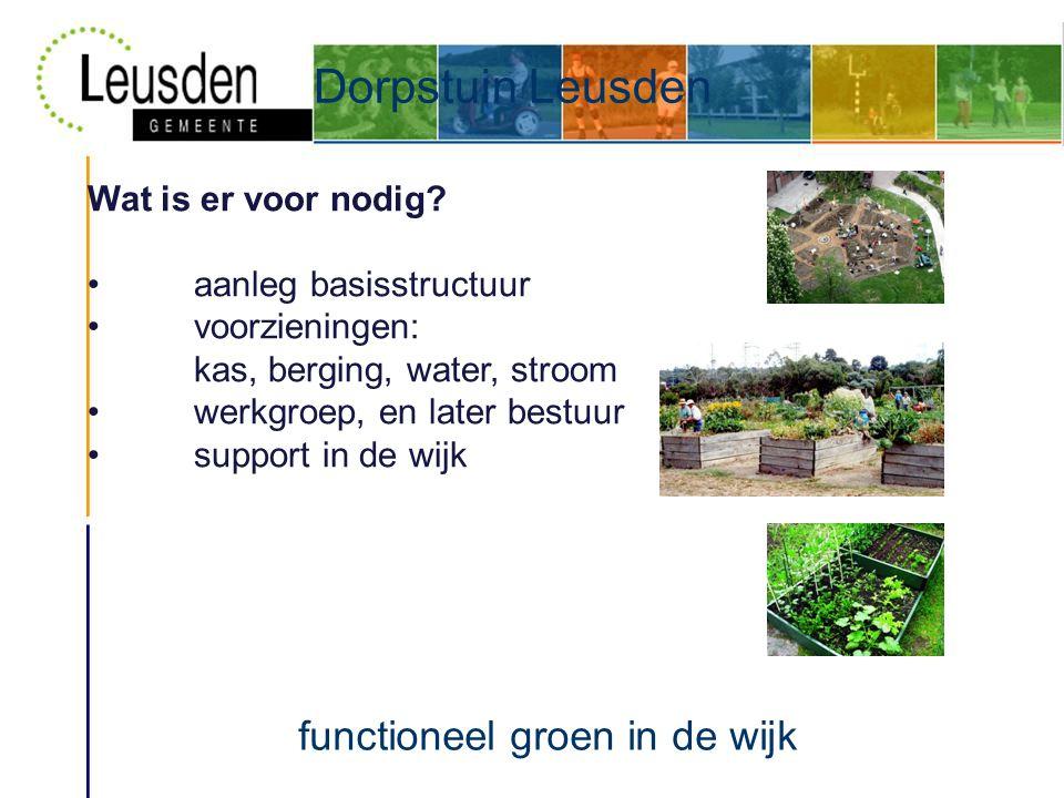 Dorpstuin Leusden functioneel groen in de wijk Wat is er voor nodig.