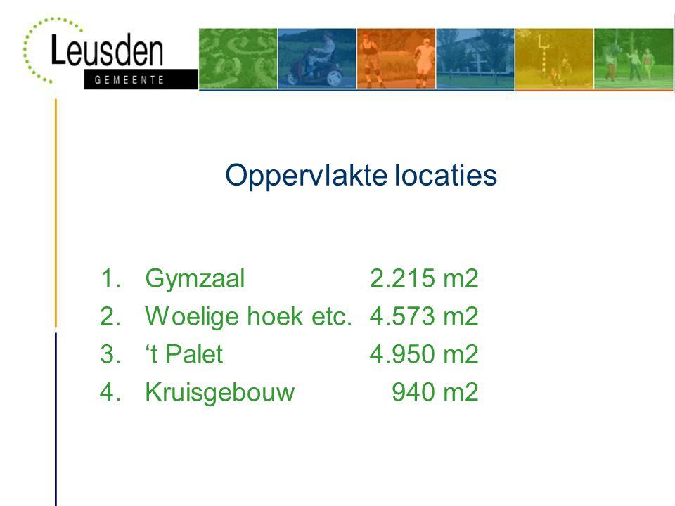 Oppervlakte locaties 1.Gymzaal2.215 m2 2.Woelige hoek etc.4.573 m2 3.'t Palet4.950 m2 4.Kruisgebouw 940 m2