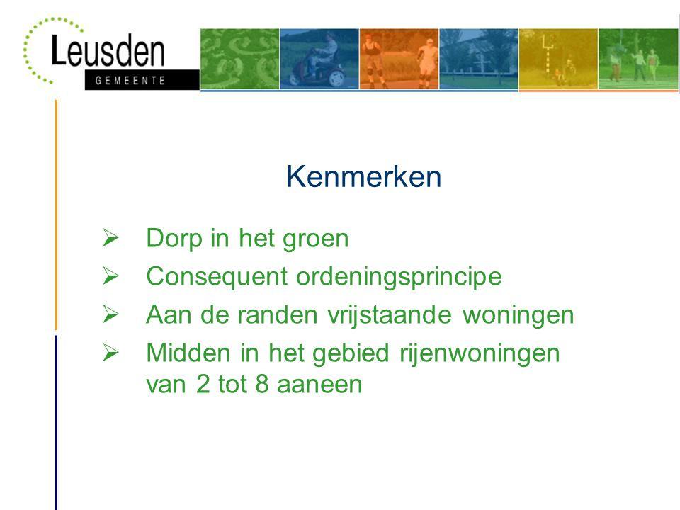 Kenmerken  Dorp in het groen  Consequent ordeningsprincipe  Aan de randen vrijstaande woningen  Midden in het gebied rijenwoningen van 2 tot 8 aaneen