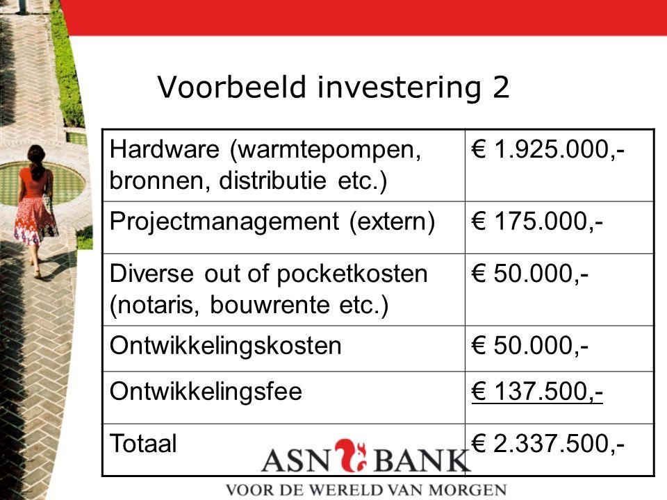 Voorbeeld investering 2 Hardware (warmtepompen, bronnen, distributie etc.) € 1.925.000,- Projectmanagement (extern)€ 175.000,- Diverse out of pocketko