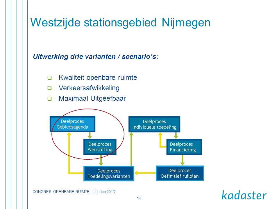CONGRES OPENBARE RUIMTE - 11 dec 2013 14 Westzijde stationsgebied Nijmegen Uitwerking drie varianten / scenario's:  Kwaliteit openbare ruimte  Verkeersafwikkeling  Maximaal Uitgeefbaar