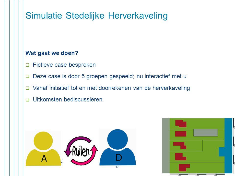 CONGRES OPENBARE RUIMTE - 11 dec 2013 17 Simulatie Stedelijke Herverkaveling Wat gaat we doen.