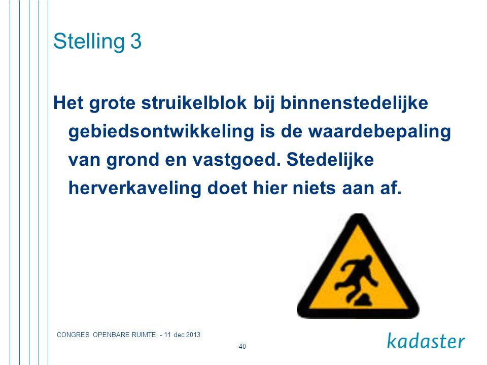 CONGRES OPENBARE RUIMTE - 11 dec 2013 40 Stelling 3 Het grote struikelblok bij binnenstedelijke gebiedsontwikkeling is de waardebepaling van grond en vastgoed.