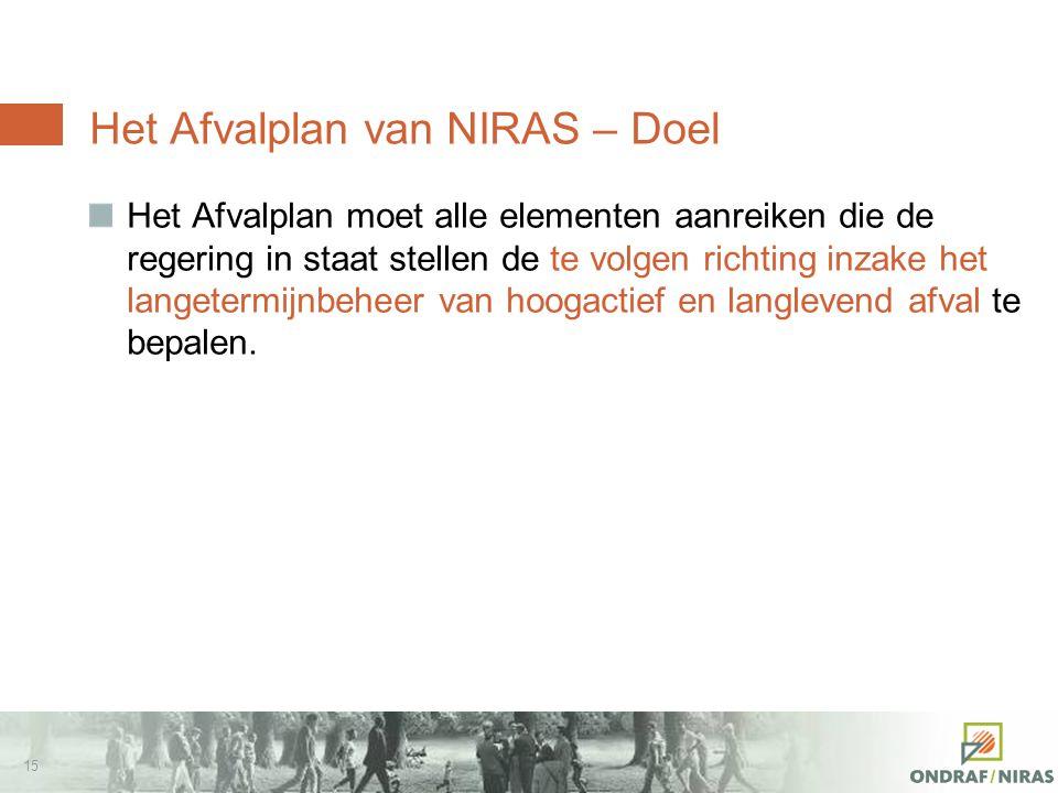 14 Het Afvalplan van NIRAS – Juridisch kader Wettelijke verplichting voor NIRAS om een algemeen beheerprogramma op lange termijn voor het radioactieve afval op te stellen  Art.