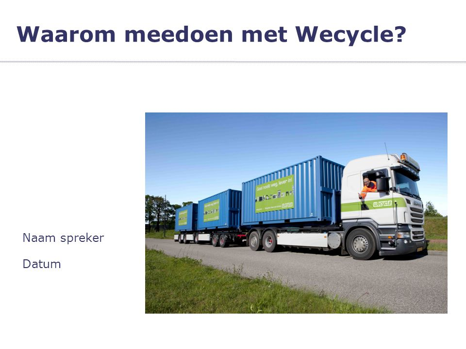 Datum Naam spreker Waarom meedoen met Wecycle?