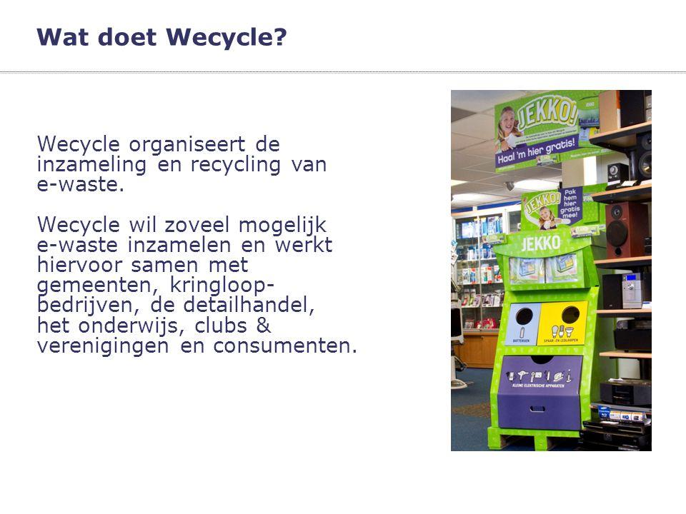 Wat doet Wecycle? Wecycle organiseert de inzameling en recycling van e-waste. Wecycle wil zoveel mogelijk e-waste inzamelen en werkt hiervoor samen me