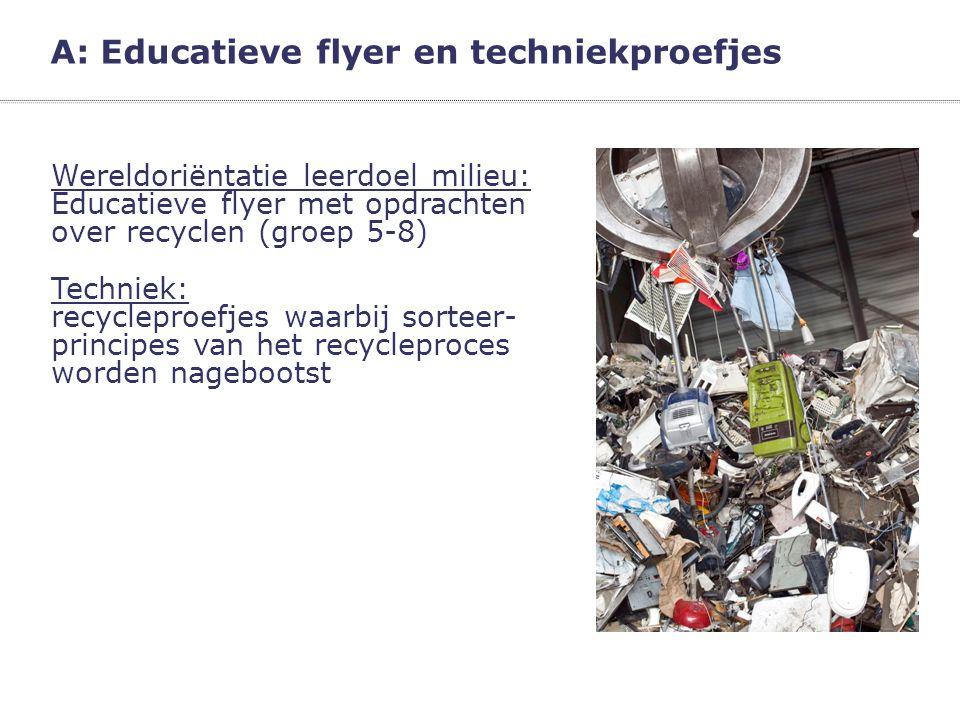 A: Educatieve flyer en techniekproefjes Wereldoriëntatie leerdoel milieu: Educatieve flyer met opdrachten over recyclen (groep 5-8)  Techniek: recycl