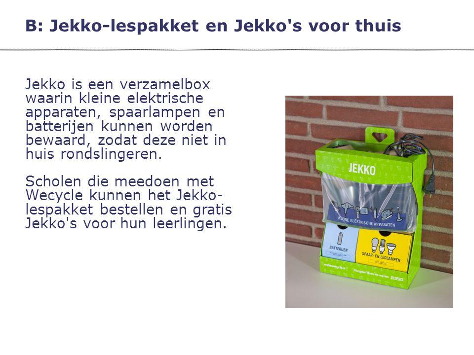 B: Jekko-lespakket en Jekko's voor thuis Jekko is een verzamelbox waarin kleine elektrische apparaten, spaarlampen en batterijen kunnen worden bewaard