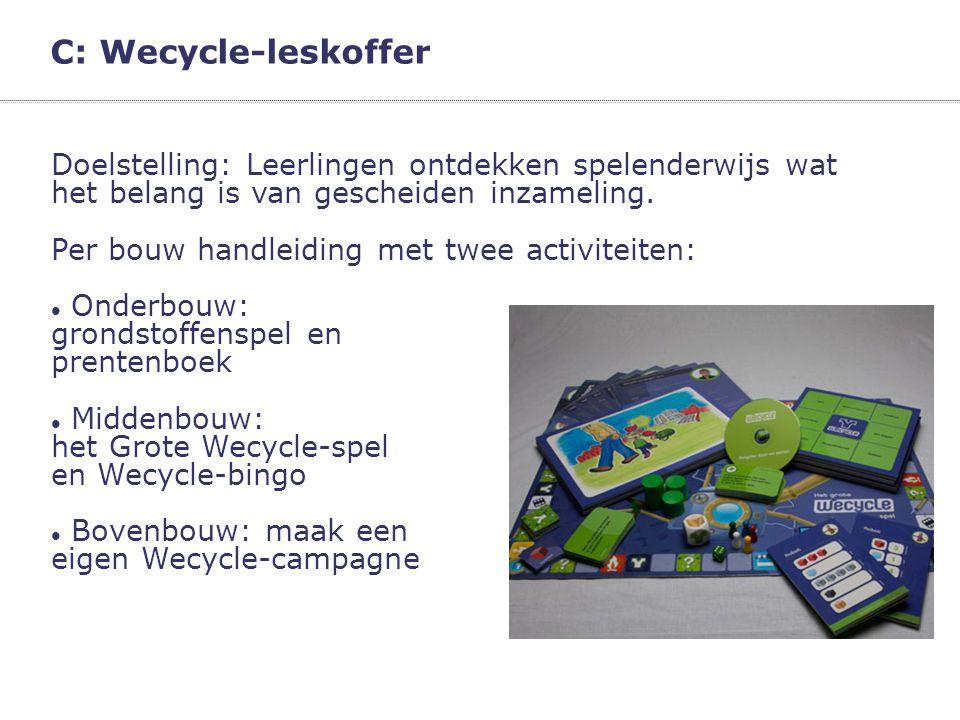C: Wecycle-leskoffer Doelstelling: Leerlingen ontdekken spelenderwijs wat het belang is van gescheiden inzameling. Per bouw handleiding met twee activ