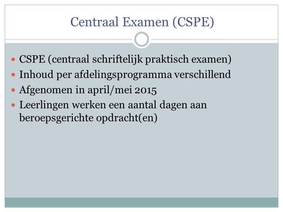 Centraal Examen (CSPE)  CSPE (centraal schriftelijk praktisch examen)  Inhoud per afdelingsprogramma verschillend  Afgenomen in april/mei 2015  Leerlingen werken een aantal dagen aan beroepsgerichte opdracht(en)