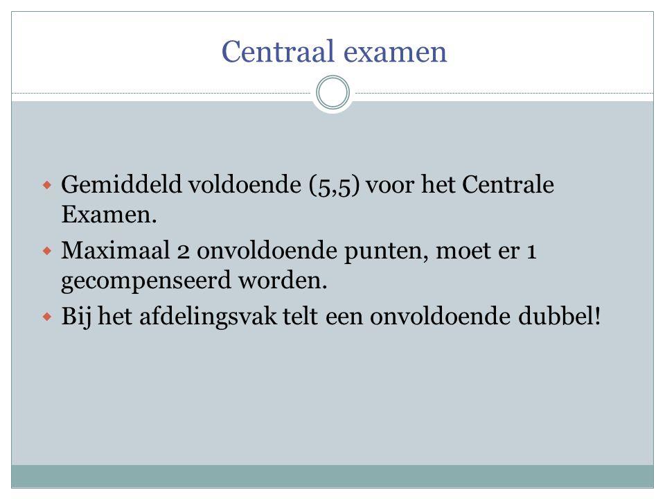 Centraal examen  Gemiddeld voldoende (5,5) voor het Centrale Examen.  Maximaal 2 onvoldoende punten, moet er 1 gecompenseerd worden.  Bij het afdel