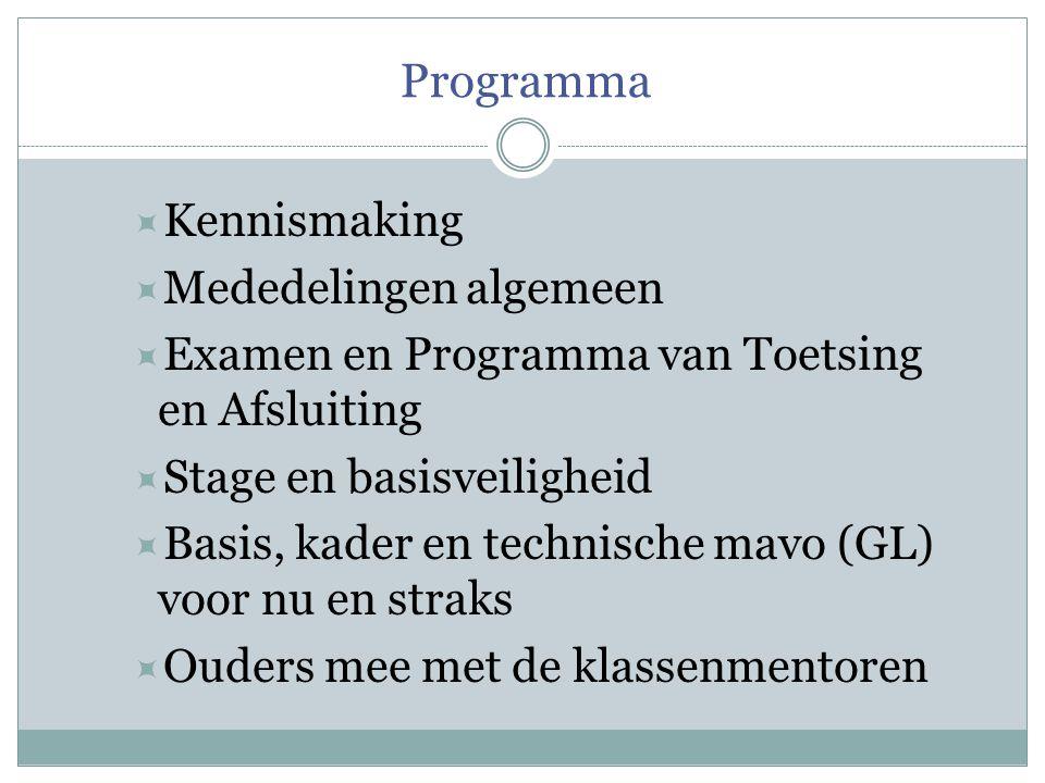 Programma  Kennismaking  Mededelingen algemeen  Examen en Programma van Toetsing en Afsluiting  Stage en basisveiligheid  Basis, kader en technische mavo (GL) voor nu en straks  Ouders mee met de klassenmentoren