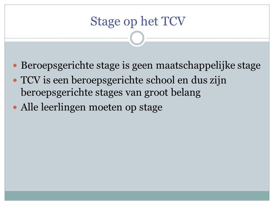 Stage op het TCV  Beroepsgerichte stage is geen maatschappelijke stage  TCV is een beroepsgerichte school en dus zijn beroepsgerichte stages van groot belang  Alle leerlingen moeten op stage