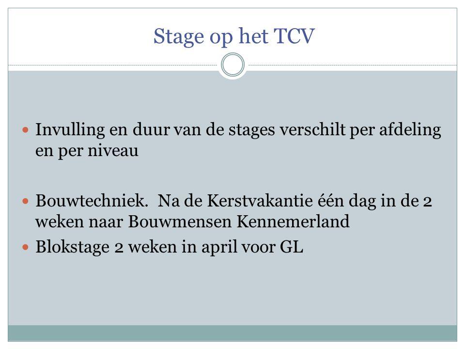 Stage op het TCV  Invulling en duur van de stages verschilt per afdeling en per niveau  Bouwtechniek. Na de Kerstvakantie één dag in de 2 weken naar