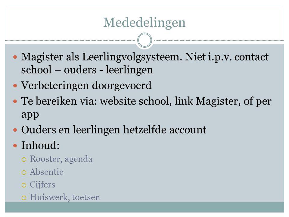 Mededelingen  Magister als Leerlingvolgsysteem. Niet i.p.v. contact school – ouders - leerlingen  Verbeteringen doorgevoerd  Te bereiken via: websi