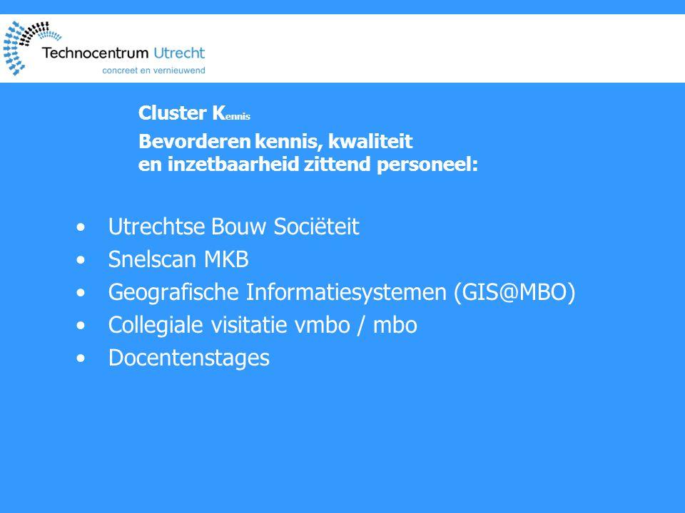 Cluster K ennis Bevorderen kennis, kwaliteit en inzetbaarheid zittend personeel: • Utrechtse Bouw Sociëteit • Snelscan MKB • Geografische Informatiesystemen (GIS@MBO) • Collegiale visitatie vmbo / mbo • Docentenstages
