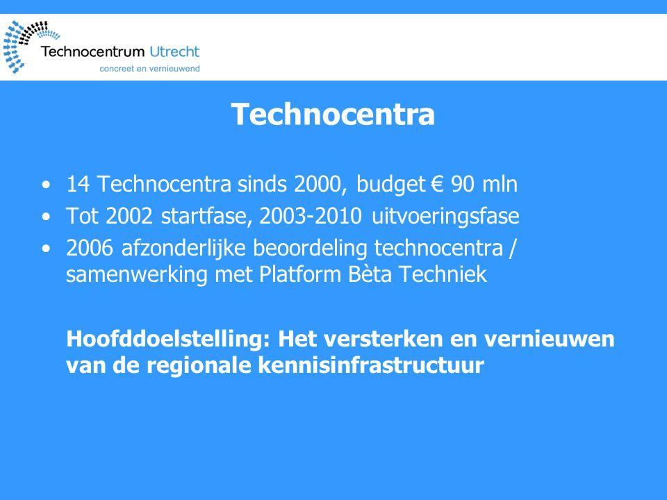 Technocentra •14 Technocentra sinds 2000, budget € 90 mln •Tot 2002 startfase, 2003-2010 uitvoeringsfase •2006 afzonderlijke beoordeling technocentra / samenwerking met Platform Bèta Techniek Hoofddoelstelling: Het versterken en vernieuwen van de regionale kennisinfrastructuur