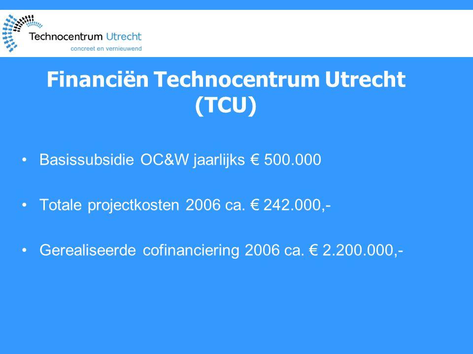 Financiën Technocentrum Utrecht (TCU) •Basissubsidie OC&W jaarlijks € 500.000 •Totale projectkosten 2006 ca.