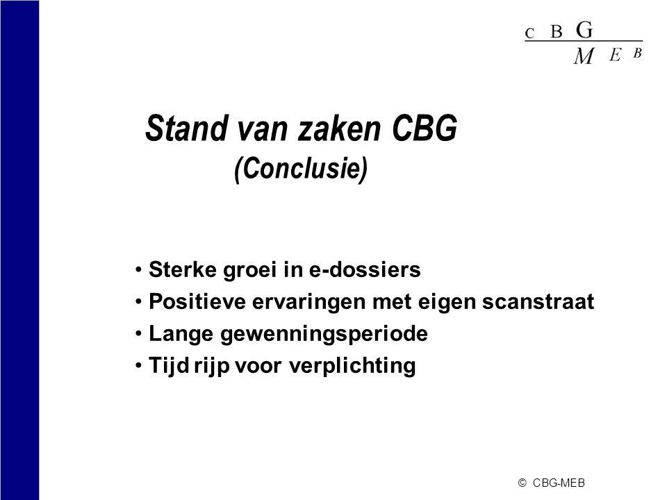 © CBG-MEB Stand van zaken CBG (Conclusie) •Sterke groei in e-dossiers •Positieve ervaringen met eigen scanstraat •Lange gewenningsperiode •Tijd rijp v
