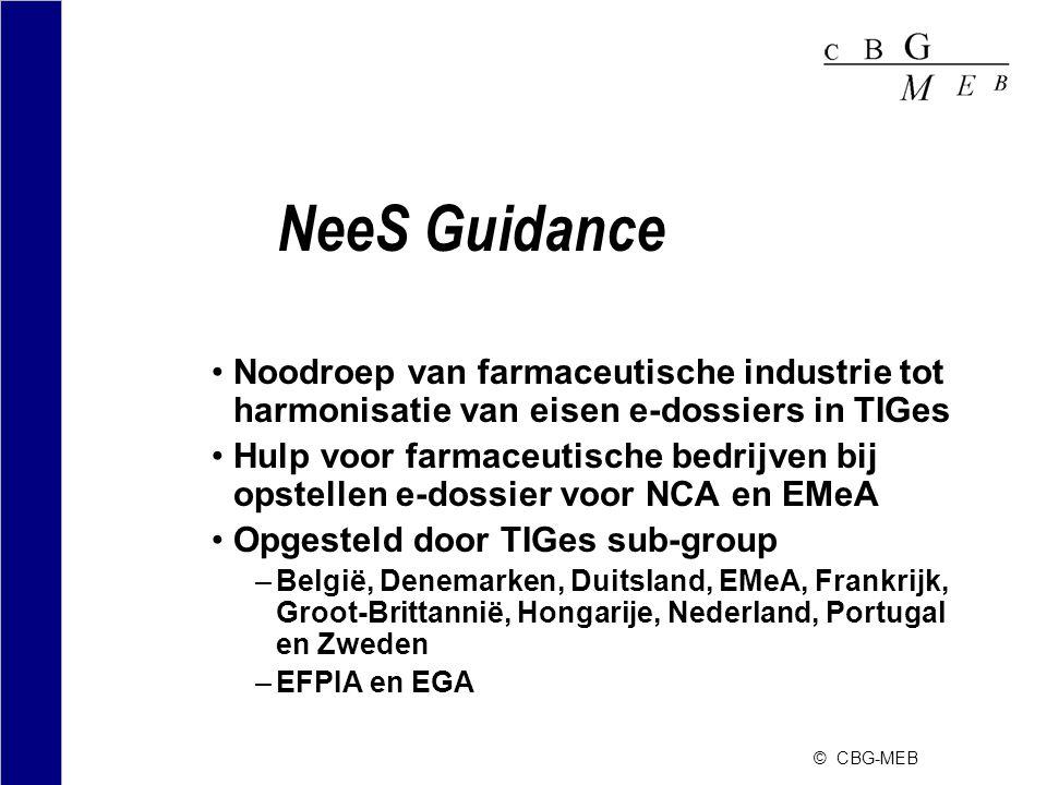 © CBG-MEB NeeS Guidance •Noodroep van farmaceutische industrie tot harmonisatie van eisen e-dossiers in TIGes •Hulp voor farmaceutische bedrijven bij