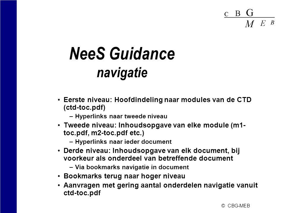 © CBG-MEB NeeS Guidance navigatie •Eerste niveau: Hoofdindeling naar modules van de CTD (ctd-toc.pdf) –Hyperlinks naar tweede niveau •Tweede niveau: I