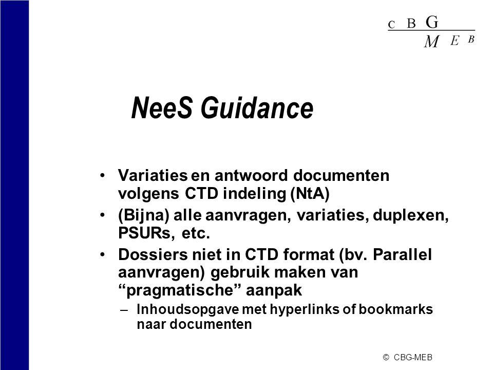 © CBG-MEB NeeS Guidance •Variaties en antwoord documenten volgens CTD indeling (NtA) •(Bijna) alle aanvragen, variaties, duplexen, PSURs, etc. •Dossie
