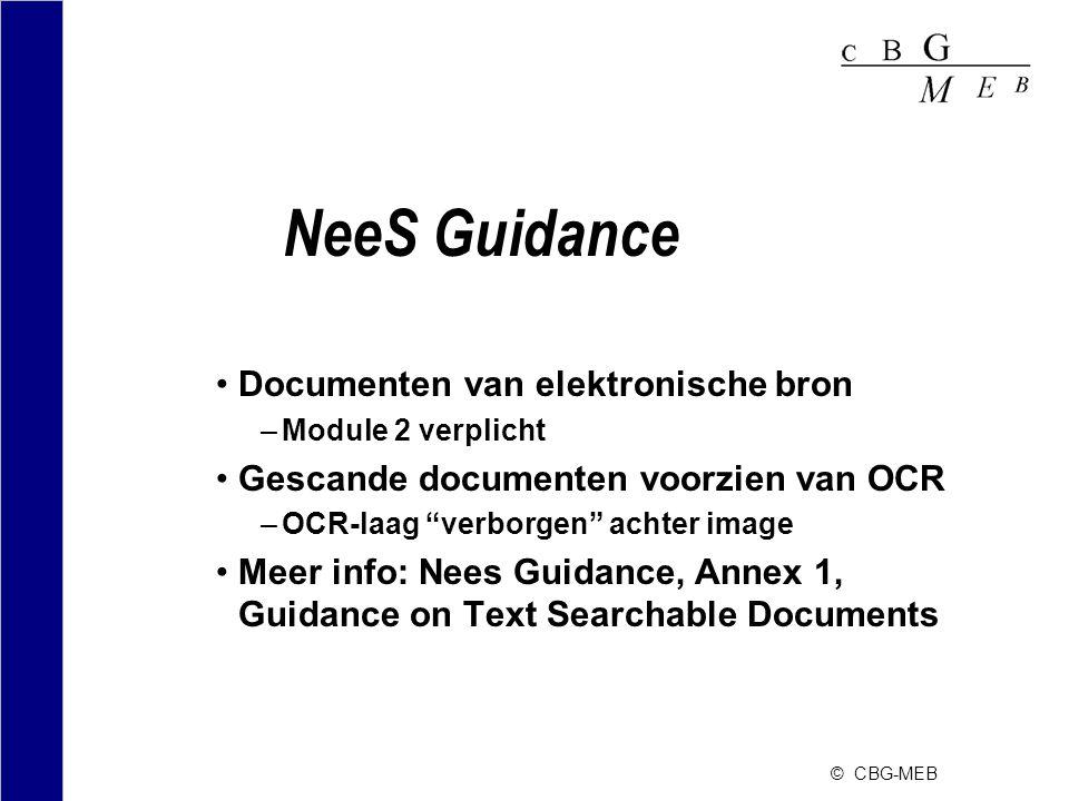"""© CBG-MEB NeeS Guidance •Documenten van elektronische bron –Module 2 verplicht •Gescande documenten voorzien van OCR –OCR-laag """"verborgen"""" achter imag"""