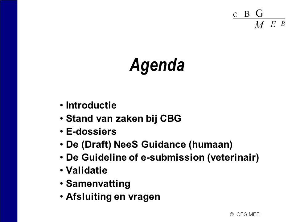© CBG-MEB Introductie •Wettelijke verplichting voor het indienen van elektronische dossiers (humaan) vanaf 1 juli 2007 •Regeling geneesmiddelenwet (25 juni 2007) –Artikel 3.1