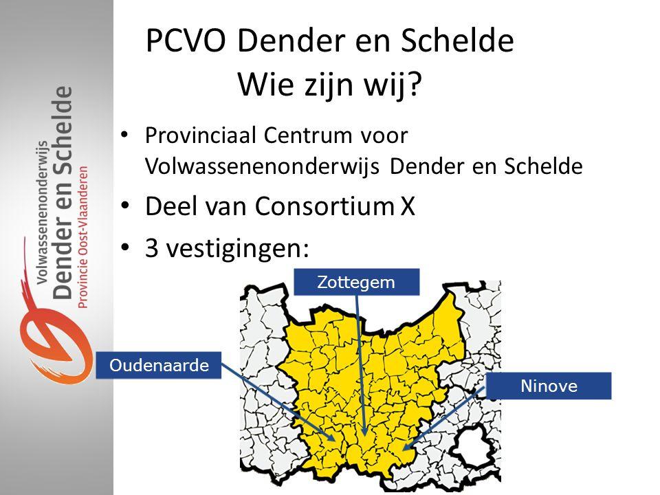 PCVO Dender en Schelde Wie zijn wij? • Provinciaal Centrum voor Volwassenenonderwijs Dender en Schelde • Deel van Consortium X • 3 vestigingen: Ninove