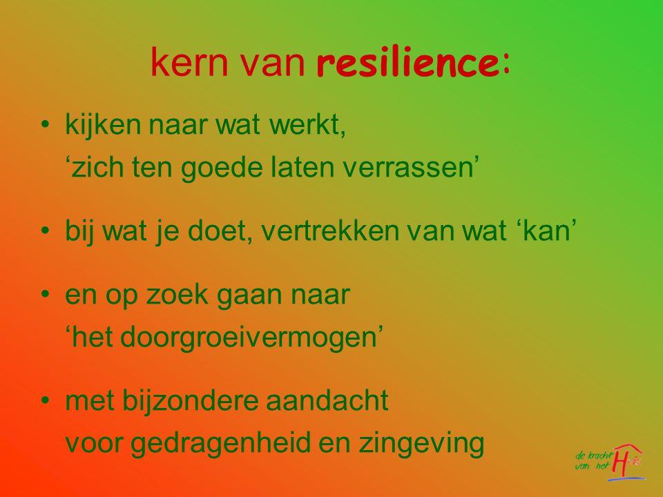 kern van resilience: •kijken naar wat werkt, 'zich ten goede laten verrassen' •bij wat je doet, vertrekken van wat 'kan' •en op zoek gaan naar 'het do
