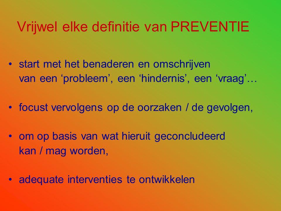 Vrijwel elke definitie van PREVENTIE •start met het benaderen en omschrijven van een 'probleem', een 'hindernis', een 'vraag'… •focust vervolgens op d