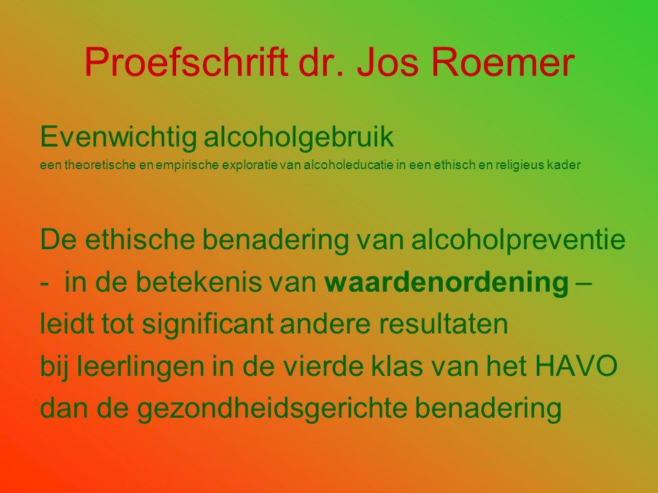 Proefschrift dr. Jos Roemer Evenwichtig alcoholgebruik een theoretische en empirische exploratie van alcoholeducatie in een ethisch en religieus kader