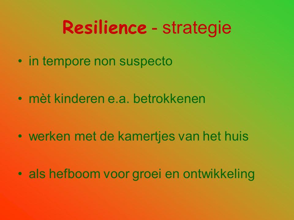 Resilience - strategie •in tempore non suspecto •mèt kinderen e.a. betrokkenen •werken met de kamertjes van het huis •als hefboom voor groei en ontwik