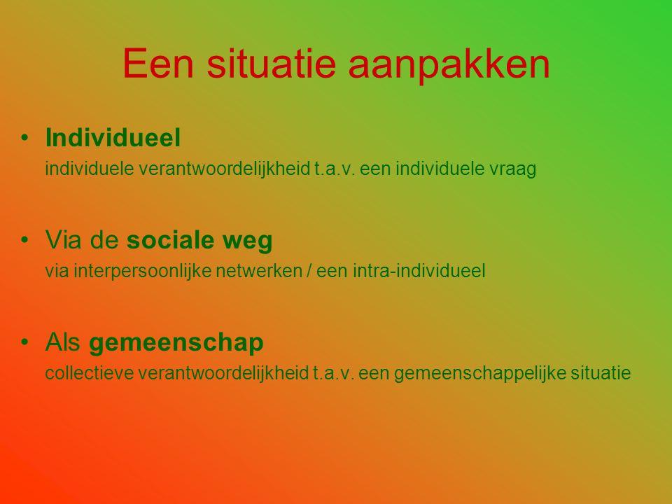 •Individueel individuele verantwoordelijkheid t.a.v. een individuele vraag •Via de sociale weg via interpersoonlijke netwerken / een intra-individueel