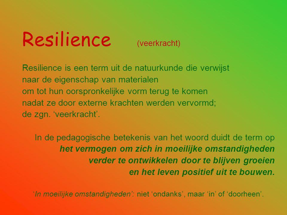 Resilience (veerkracht) Resilience is een term uit de natuurkunde die verwijst naar de eigenschap van materialen om tot hun oorspronkelijke vorm terug