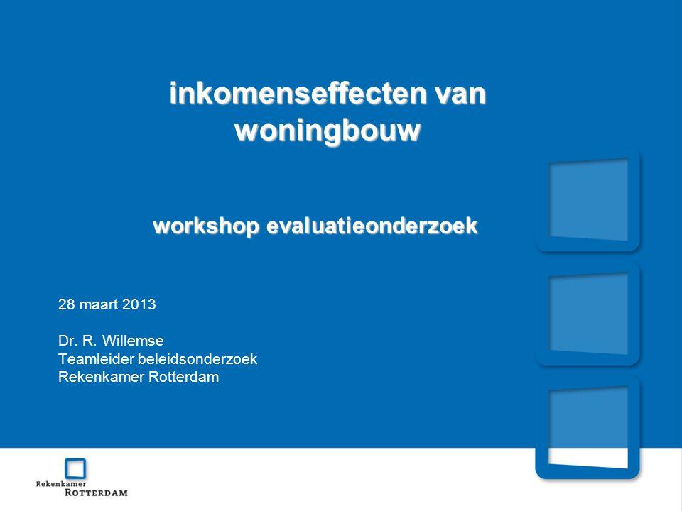 inkomenseffecten van woningbouw workshop evaluatieonderzoek 28 maart 2013 Dr.