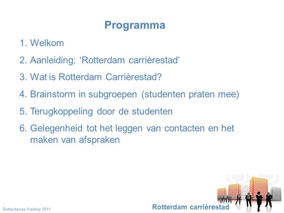 Het Rotterdamse bedrijfsleven •Het succes van het initiatief is afhankelijk van de medewerking van het Rotterdamse bedrijfsleven.