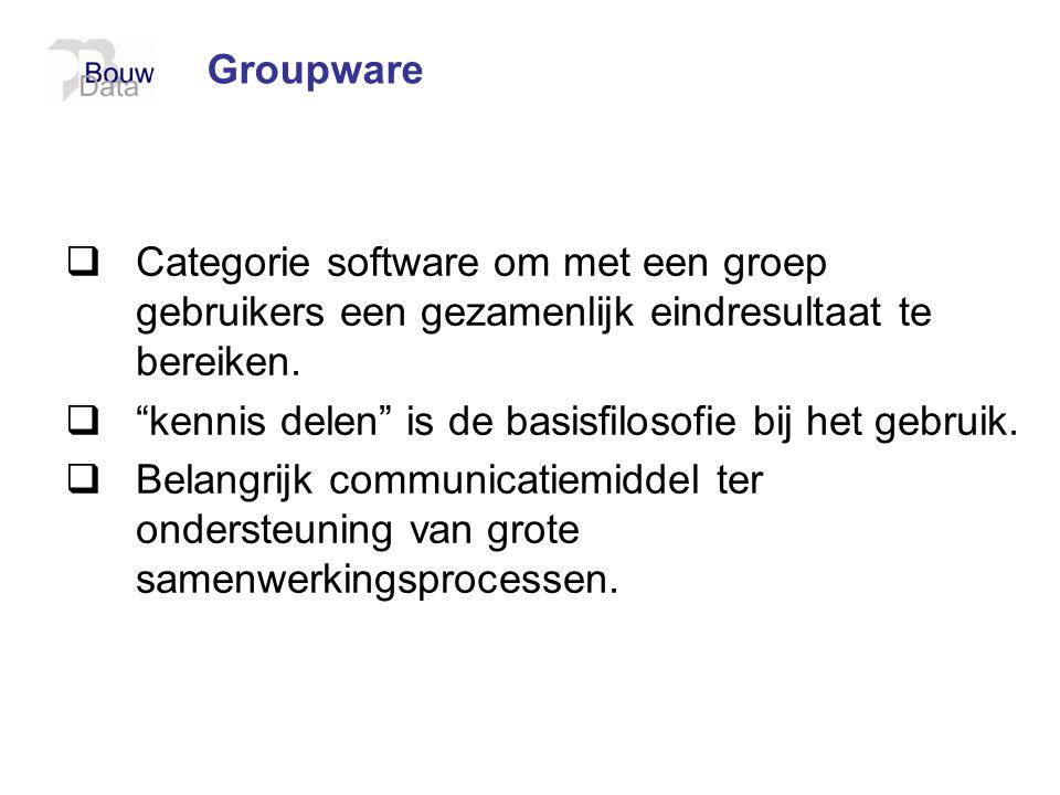""" Categorie software om met een groep gebruikers een gezamenlijk eindresultaat te bereiken.  """"kennis delen"""" is de basisfilosofie bij het gebruik.  B"""