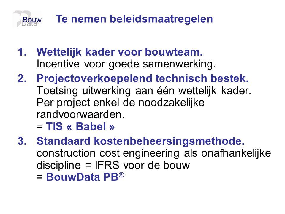 1.Wettelijk kader voor bouwteam. Incentive voor goede samenwerking. 2.Projectoverkoepelend technisch bestek. Toetsing uitwerking aan één wettelijk kad