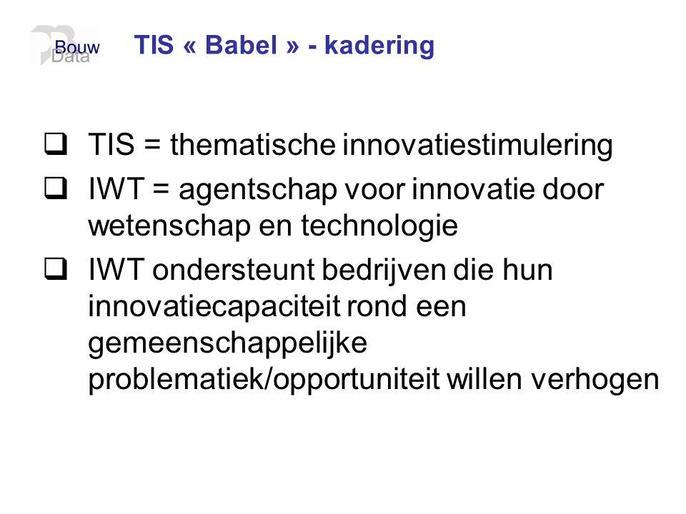 TIS « Babel » - kadering  TIS = thematische innovatiestimulering  IWT = agentschap voor innovatie door wetenschap en technologie  IWT ondersteunt b