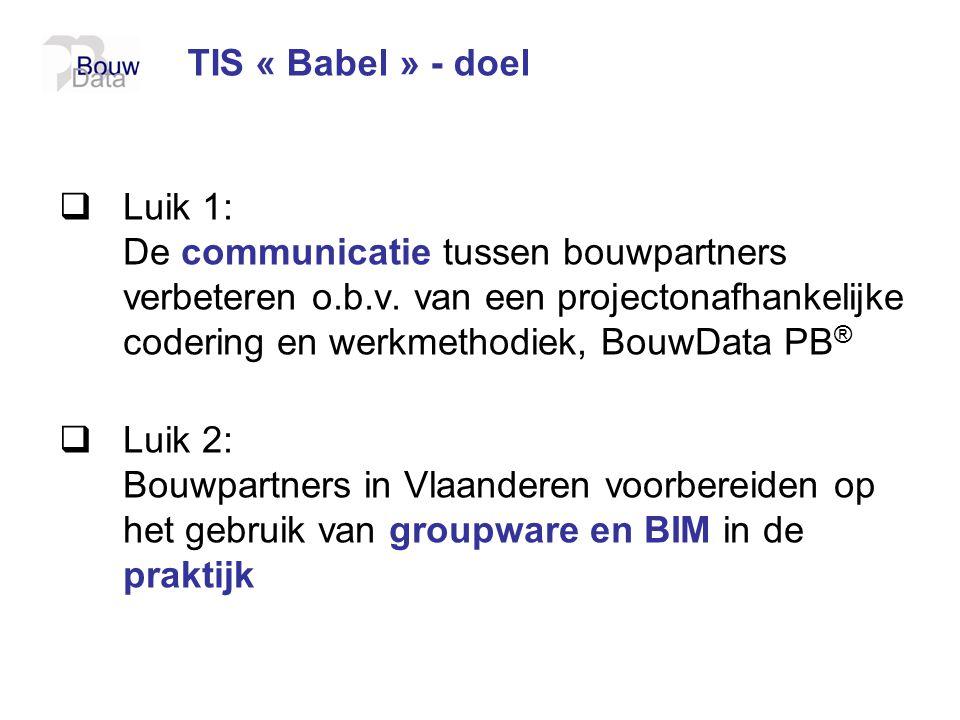 TIS « Babel » - doel  Luik 1: De communicatie tussen bouwpartners verbeteren o.b.v. van een projectonafhankelijke codering en werkmethodiek, BouwData