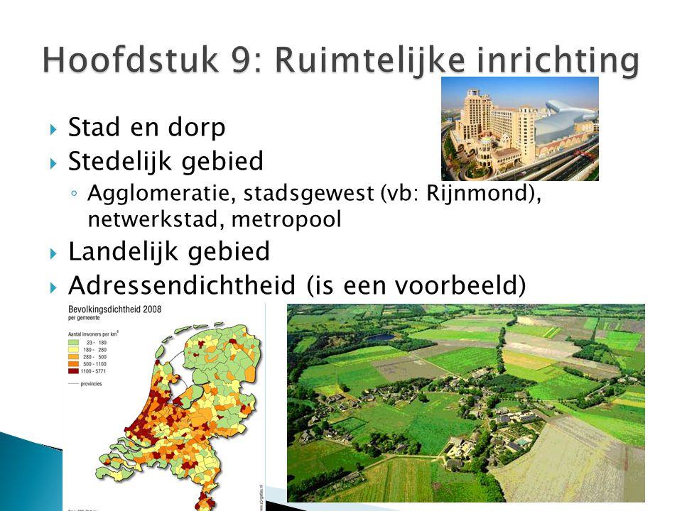  Stad en dorp  Stedelijk gebied ◦ Agglomeratie, stadsgewest (vb: Rijnmond), netwerkstad, metropool  Landelijk gebied  Adressendichtheid (is een vo