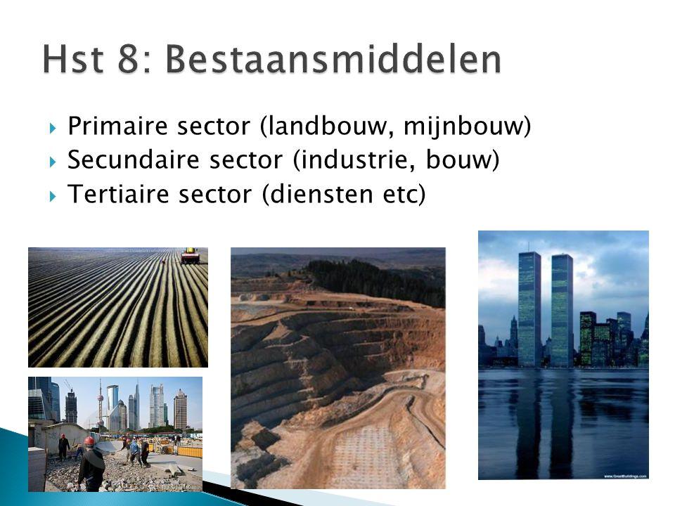  Primaire sector (landbouw, mijnbouw)  Secundaire sector (industrie, bouw)  Tertiaire sector (diensten etc)