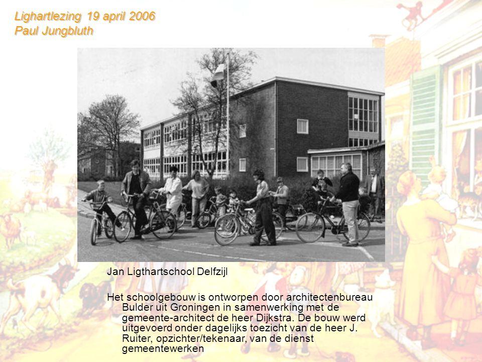 Jan Ligthartschool Delfzijl Het schoolgebouw is ontworpen door architectenbureau Bulder uit Groningen in samenwerking met de gemeente-architect de heer Dijkstra.