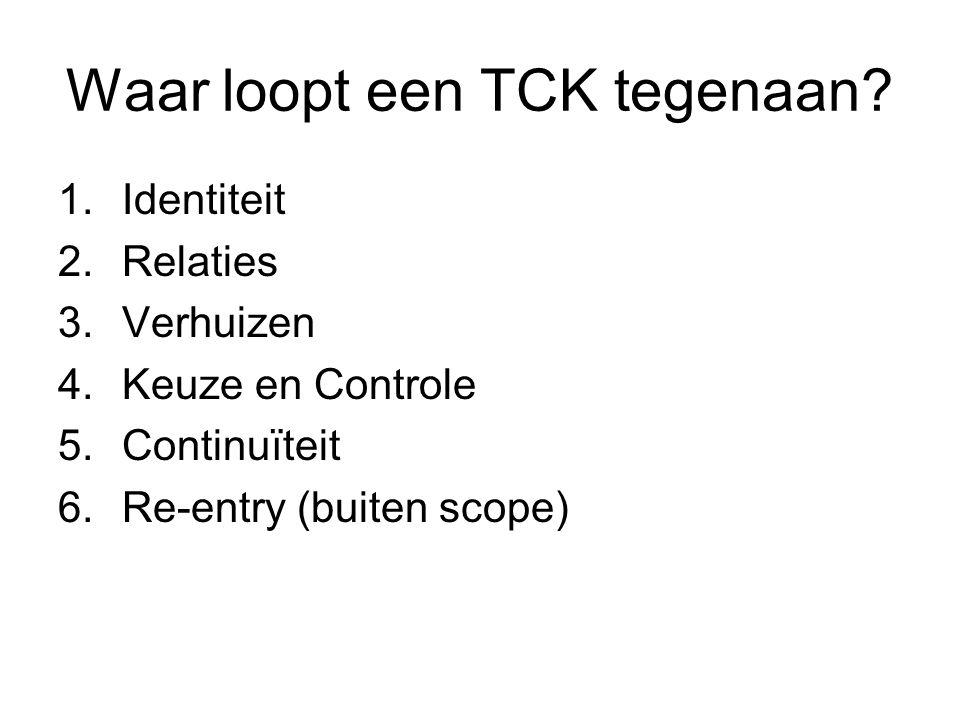 Waar loopt een TCK tegenaan.