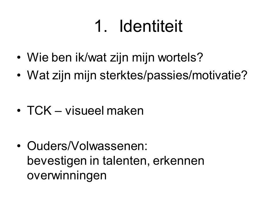 1.Identiteit •Wie ben ik/wat zijn mijn wortels. •Wat zijn mijn sterktes/passies/motivatie.
